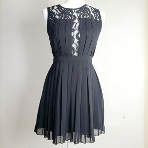 BCBGeneration Black Lace Pleated Dress SZ 6